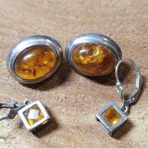2 pair Amber Baltic earrings .925